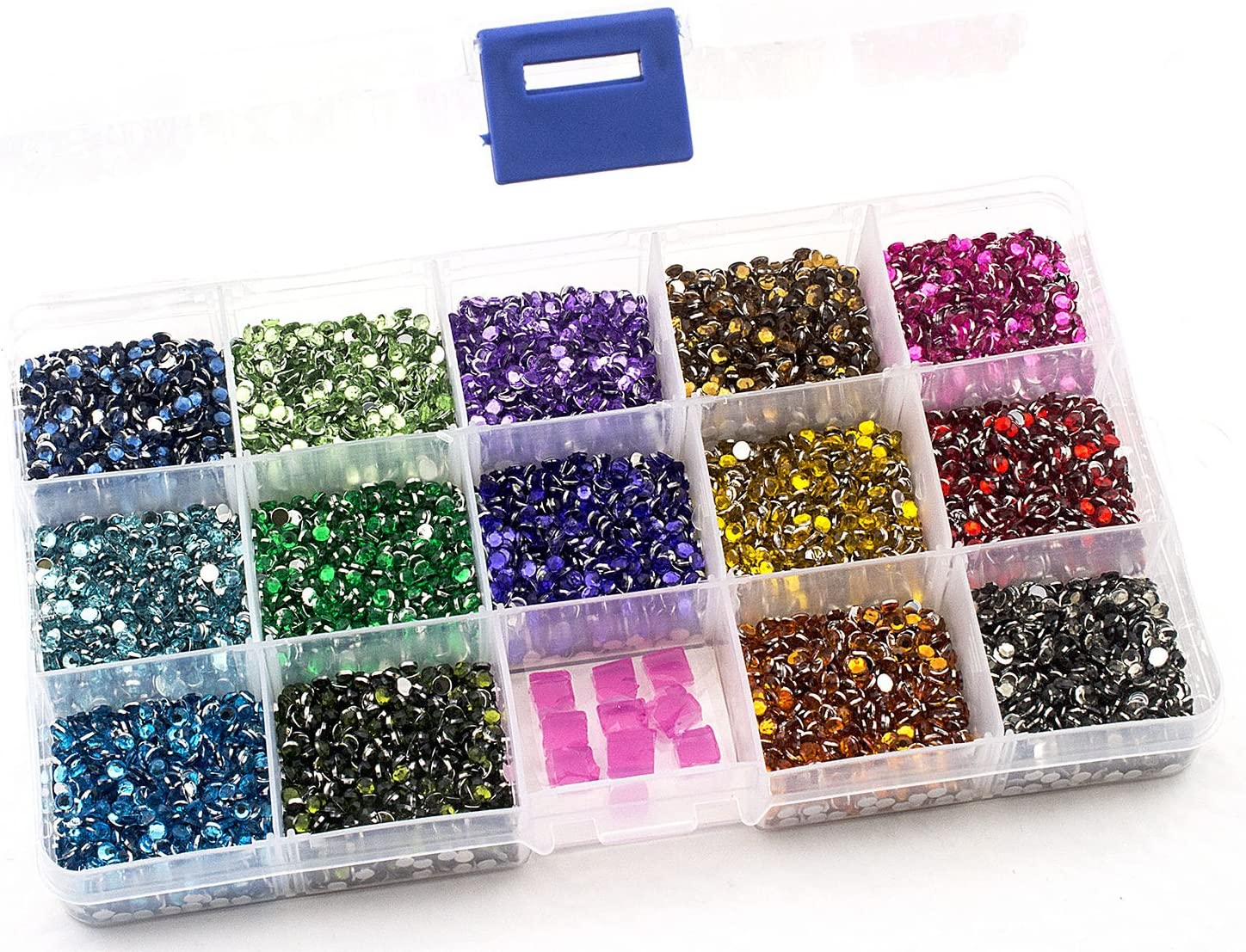 Color Collection #2 Summer-Ray 3mm Assorted Color Rhinestones in Storage Box