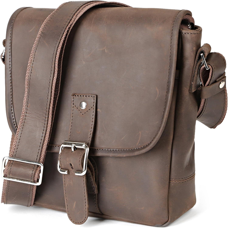 Men Handbag Leather Cross Body Messenger Shoulder Bag Satchel Small Tablet Bag