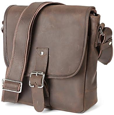 laest technology pretty cool recognized brands Shvigel Men's Leather Shoulder Bag - Small Satchel Messenger Bag - Vertical  Tablet Crossbody Handbag