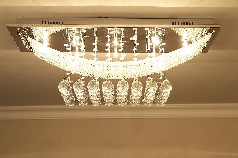 Crystal Raindrop Chandelier Modern Pendant Lamp Ceiling Light Flush Mount LED Lighting Fixtures with 8 Lights for Living Room Dining Room, L30 X H11