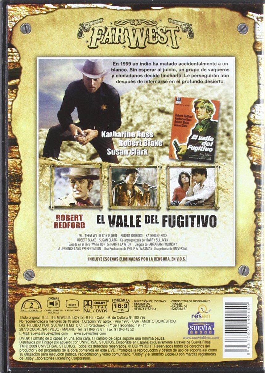 El valle del fugitivo [DVD]: Amazon.es: Robert Redford, Katharine Ross, Robert Blake, Susan Clark, Barry Sullivan, John Vernon, Charles Aidman, ...