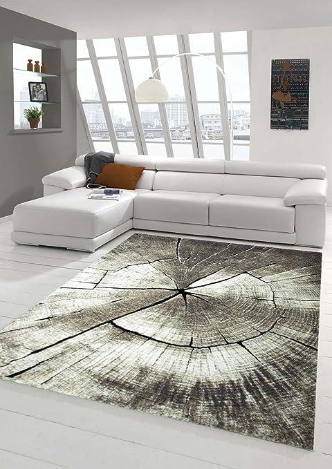 Amazon De Wohnzimmer Teppich Design Holzstamm Baum Optik In Braun Beige Grau