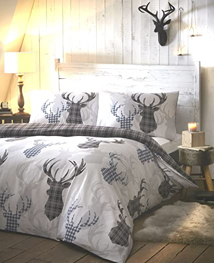 dea940a5655b Image Unavailable. Image not available for. Colour: Tartan Stag Grey Quilt Cover  Sets ...