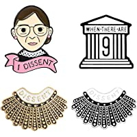 Ruth Bader Ginsburg Gift RBG Enamel Pin Set 4PCS Cartoon Dissent Pins Notorious Skirt Enamel Pins Justice Feminist Badge…