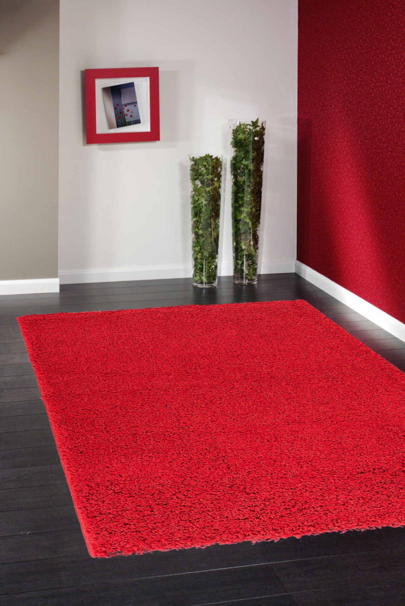 Ottomanson Soft Cozy Color Solid Shag Area Rug Contemporary Living and Bedroom Soft Shag Area Rug, Red, 7'10'' L x 9'10'' W