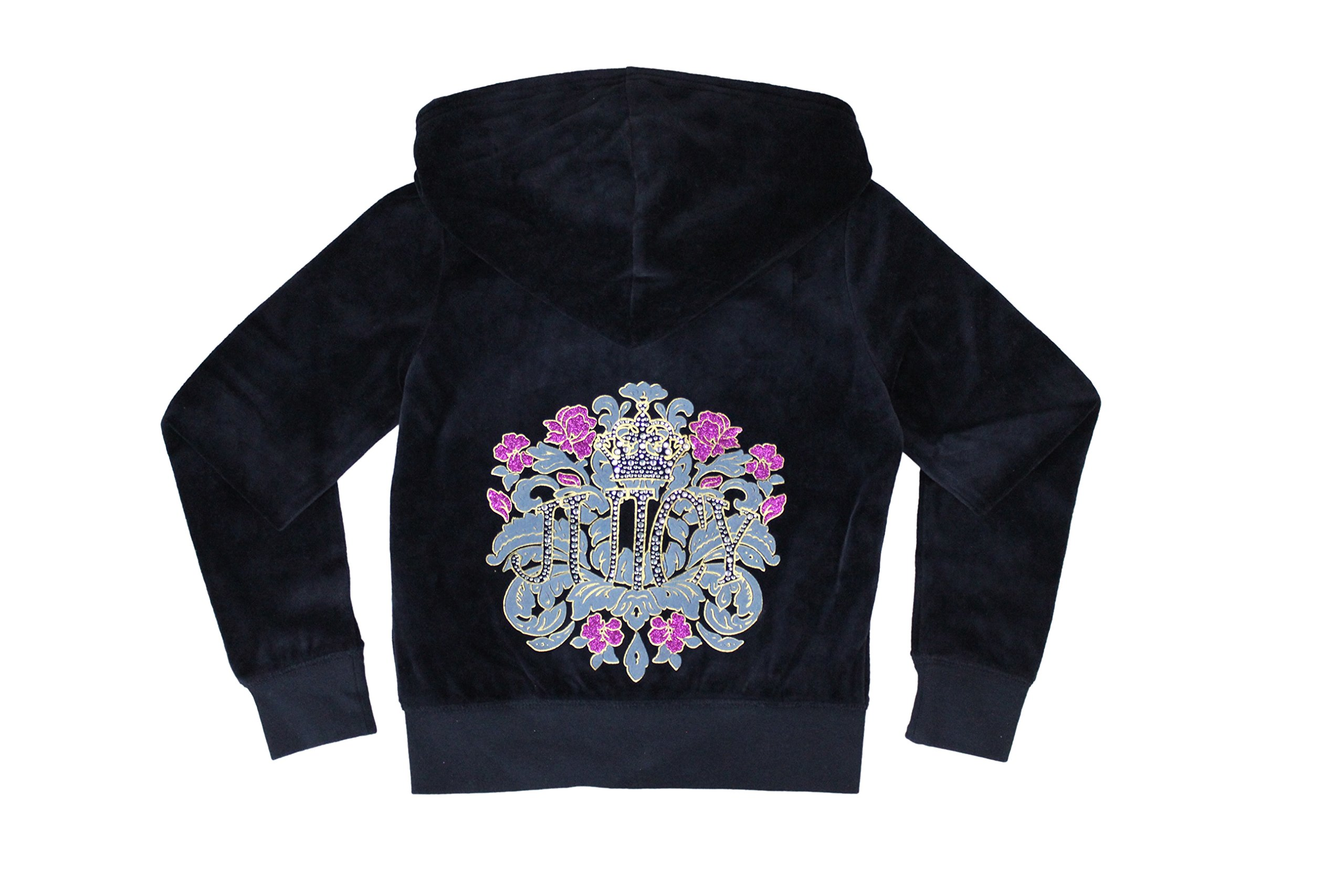 Juicy Couture Girls Embellished T-shirt or Velour Hoodie, Navy Blue. (X-Small 2-3 Hoodie.) by Juicy Couture
