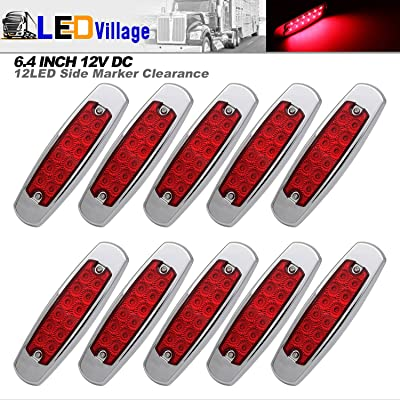 LedVillage [Pack of 10] 12V DC 6.4 Inch Red LED Side Marker Clearance Lights Surface Mount Waterproof Heavy Duty Truck Kenworth Freightliner Peterbilt Trailer Fender Guard Bumper Tail Universal BB12: Automotive