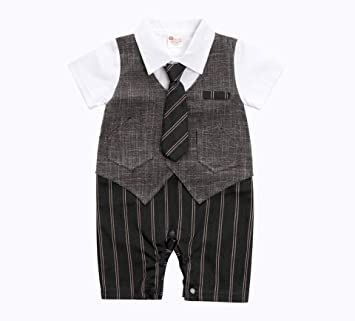 a32c164a395f1 AK Style ベビー キッズ フォーマル ネクタイ ベスト 一体型 半袖 ロンパース 正装 カバーオール 赤ちゃん 男の子 ボーイズ