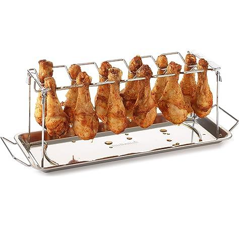 asador de latas de cerveza soporte plegable vertical de acero inoxidable con bandeja de goteo parrillas de carb/ón o gas de 7,67 x 0,98 pulgadas Estante para asar pollos