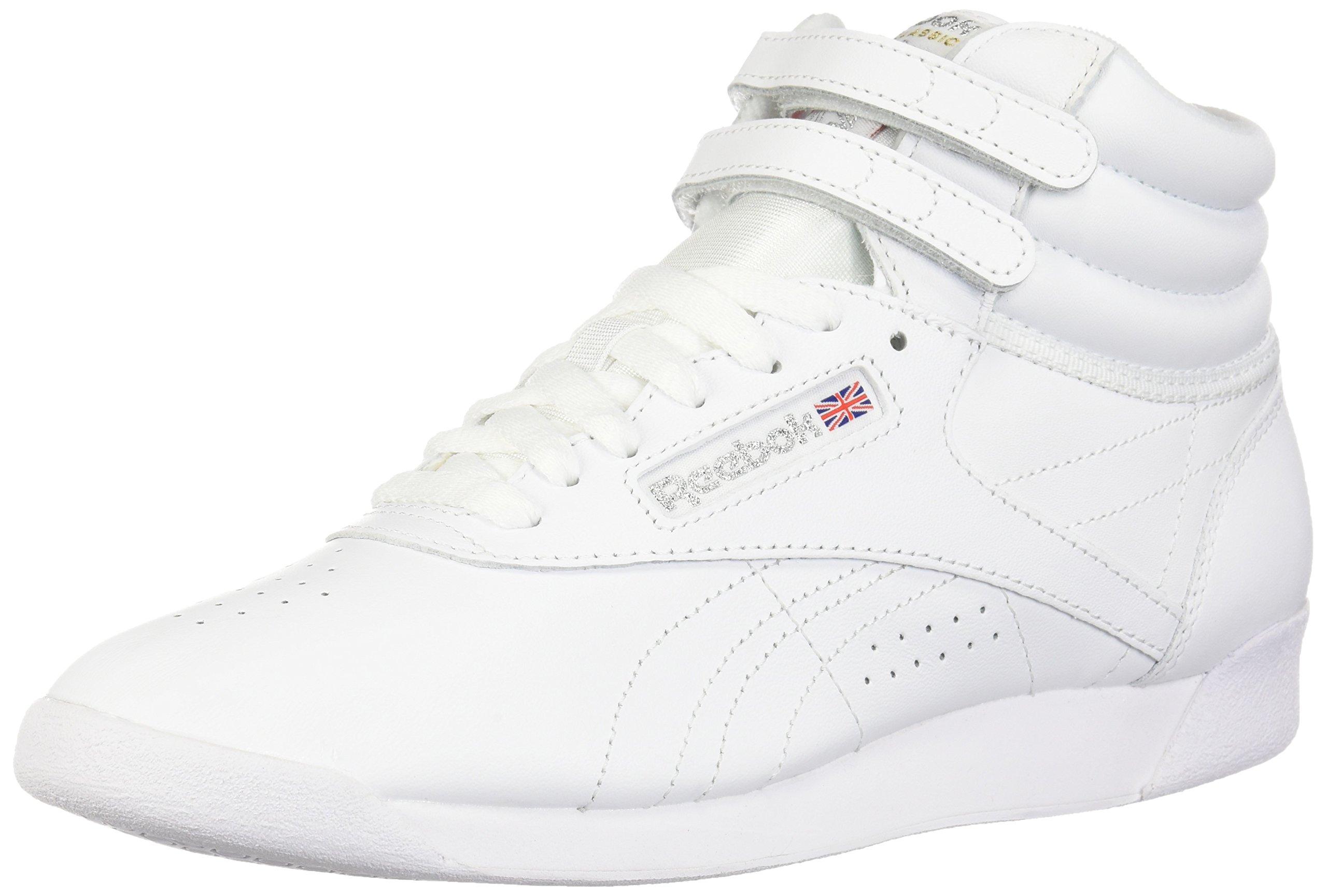 Reebok Women's Freestyle Hi Walking Shoe, White/Silver, 7.5 M US by Reebok