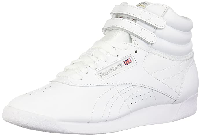 reebok womens freestyle hi walking shoe, white/silver, 9.5 m us