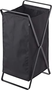 YAMAZAKI home Laundry Basket Foldable Storage Hamper Organizer, Large, Black