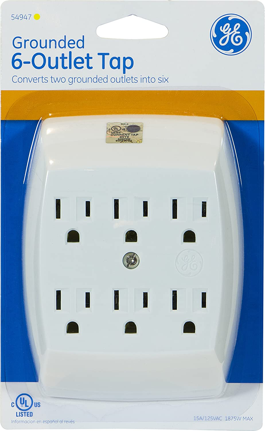 GE 6-Outlet Tap, Grounded, White, 54947 - Electrical Multi Outlets ...