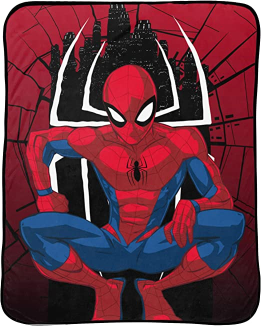Fade Resistant Super Soft Fleece - Official Marvel Product Kids Bedding Features Spiderman Measures 40 x 50 inches Jay Franco Marvel Spiderman Travel Blanket
