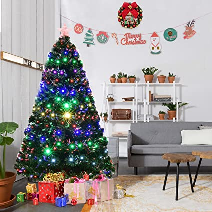 goplus 6ft artificial christmas tree pre lit optical fiber tree 8 flash modes w