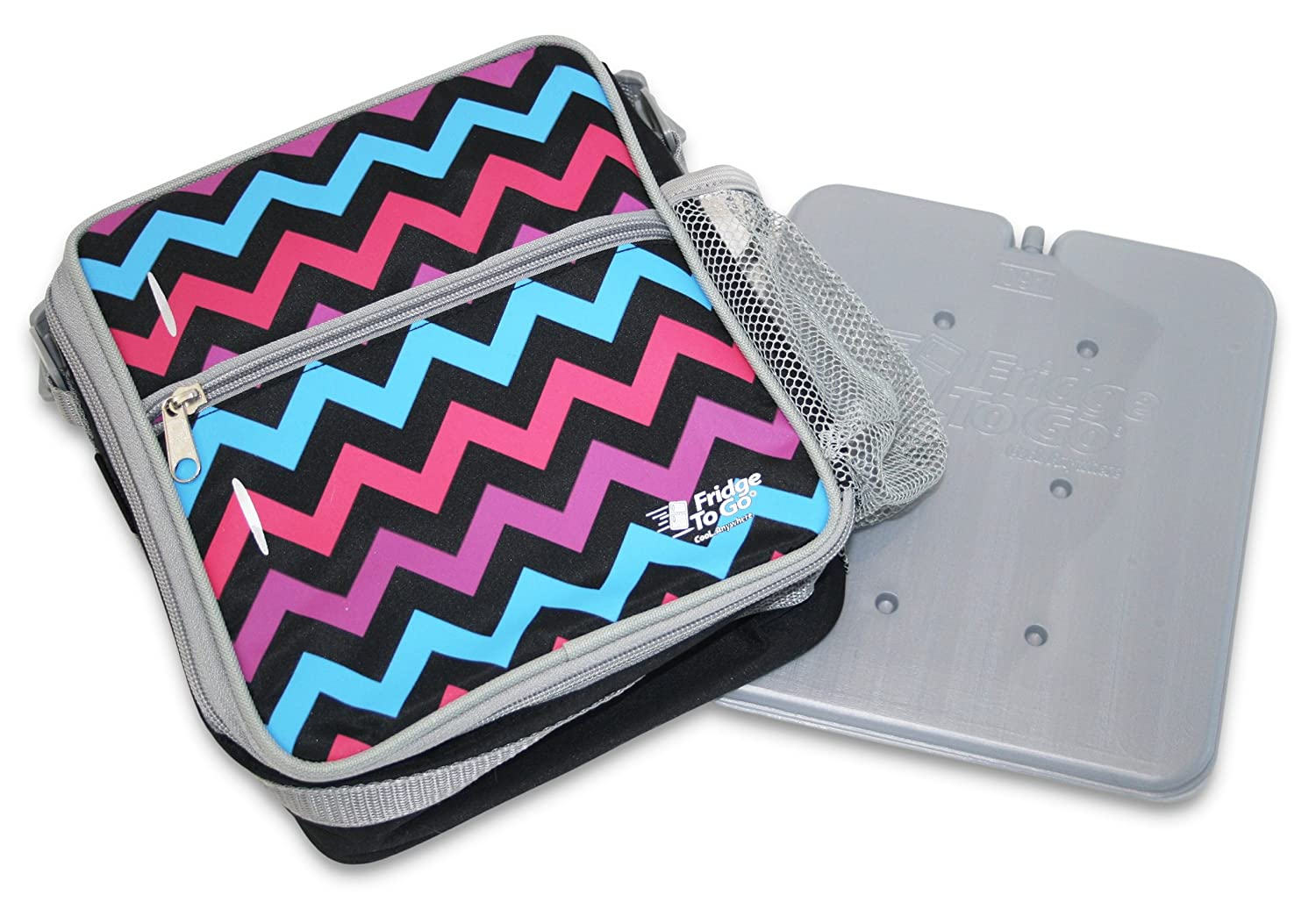 Fridge-to-go INSULATED LUNCH BAG - Cooler Bag With Cooling Panel, Mesh Side Pockets, Name Tag - Cool Up To 8 Hrs - Back to School Quality To Last The Whole Year (CHEVRON)
