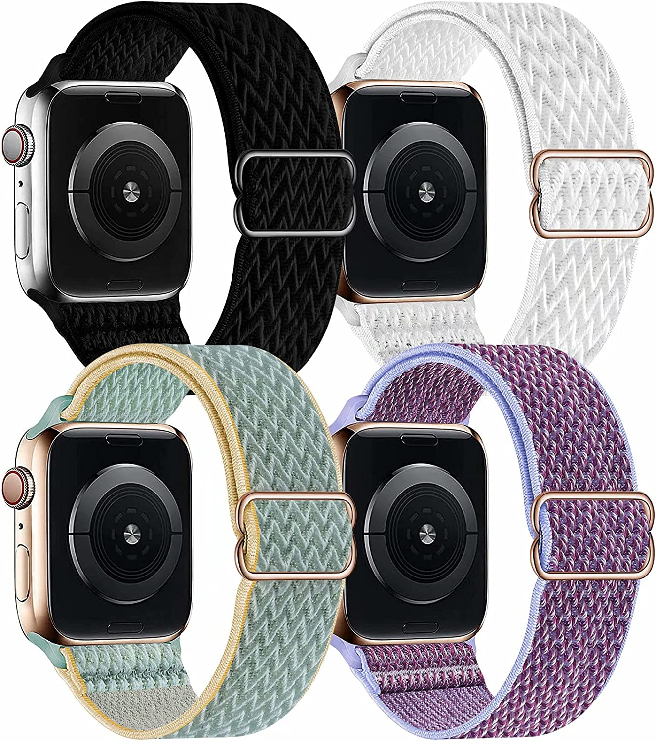 OHCBOOGIE 4 Pack Nylon Solo Loop Compatible with Apple Watch Bands,Stretch Adjustable Soft Sport Breathable Straps for Iwatch Series 6/5/4/3/2/1/SE,Black/White/Sunshine/Lilac,38/40mm