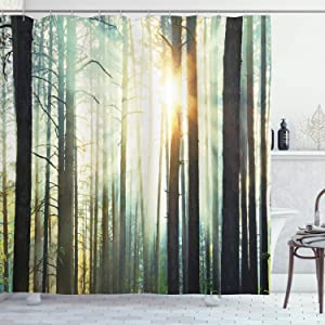 """Ambesonne Nature Shower Curtain, Mist in The Enchanted Forest with Sunbeams Painting Effect Digital Art Image, Cloth Fabric Bathroom Decor Set with Hooks, 70"""" Long, Dark Brown"""