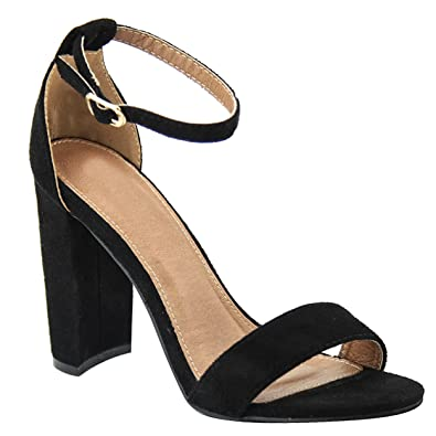 d4985063c58 Womens Shoe Faux Suede Simple Ankle Strap Chunky High Heel Sandals