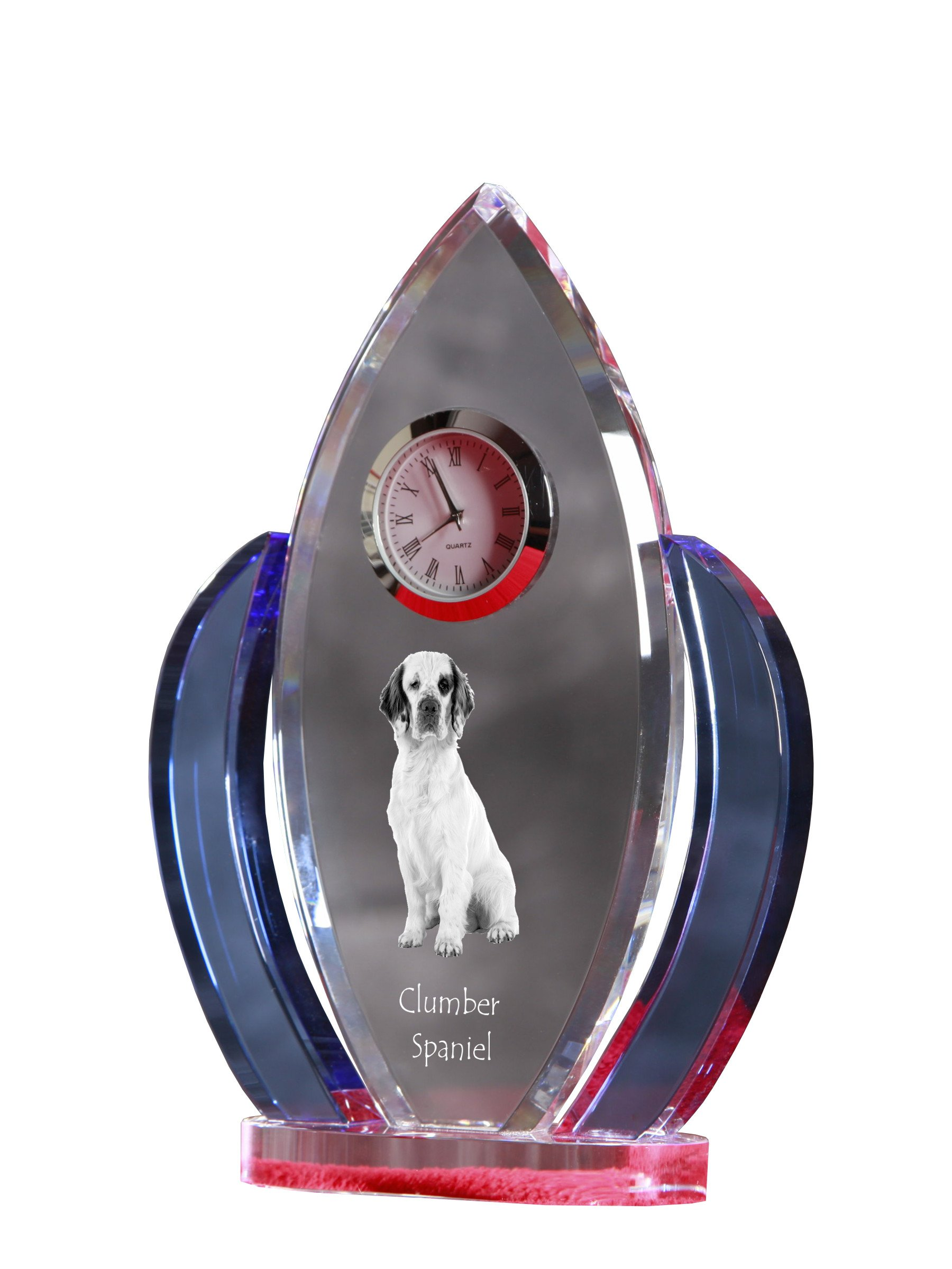 Clumber Spaniel, Crystal Clock, Shape of Wings with The Image of a Dog 2