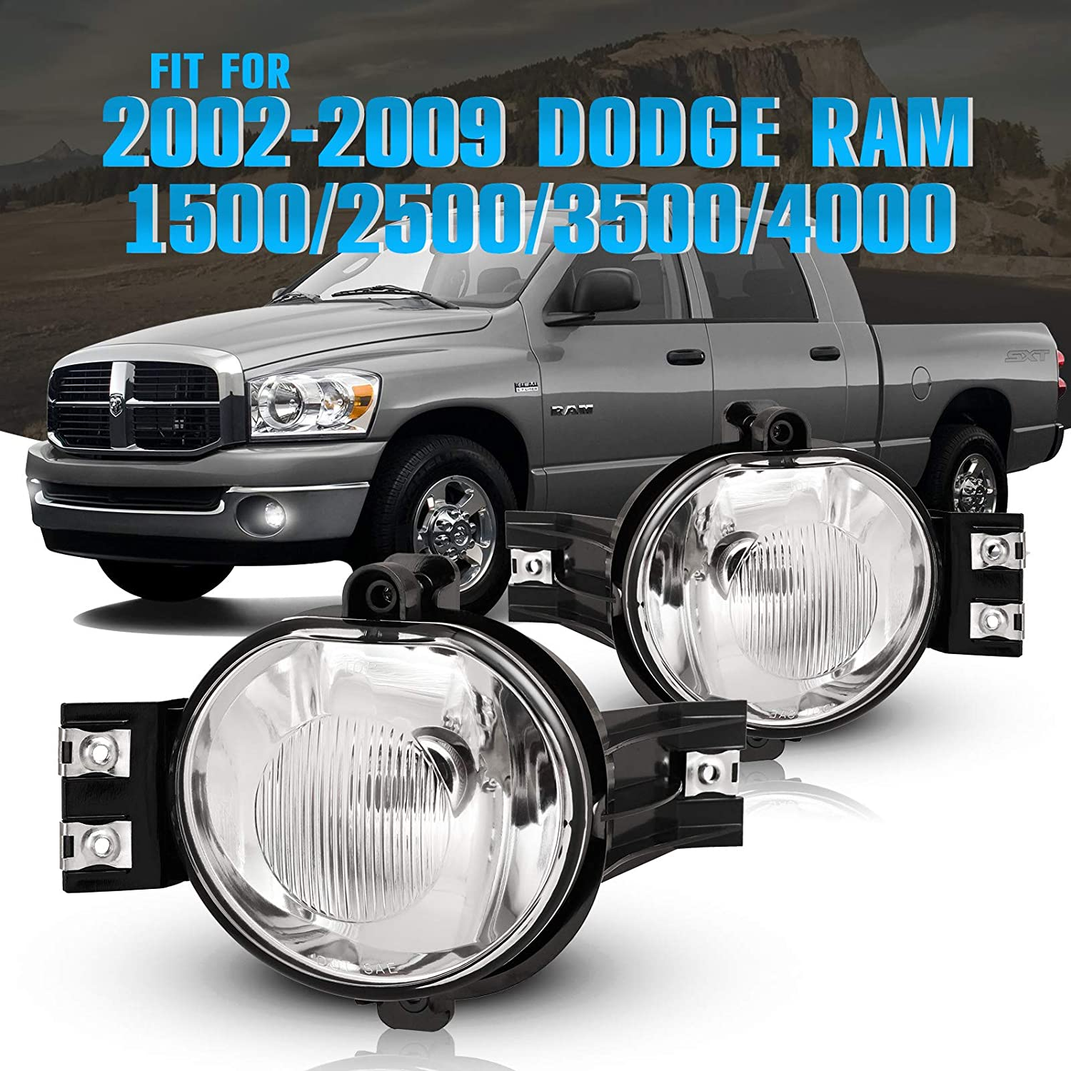 55077475AE Driving Fog Lights with Clear Lens for 02-08 Dodge Ram 1500 03-09 Dodge Ram 2500 03-10 Dodge Ram 3500 Fog Lamps for Passenger and Driver Side with OE Part # 55077474AE