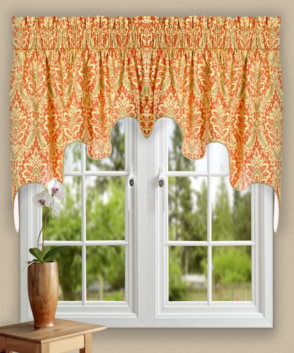 Ellis Curtain Donnington 100-by-30 Inch Lined 2-Piece Duchess Valance, Clay