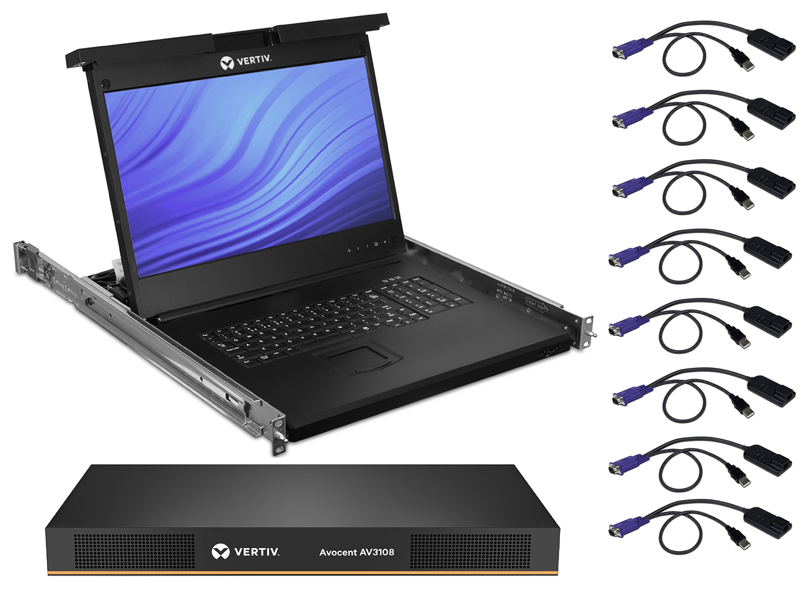 Avocent Rack Console 19'' LCD Widescreen with 8-Port Digital KVM Over IP Switch & Cables (LRA185KMM8D-001)