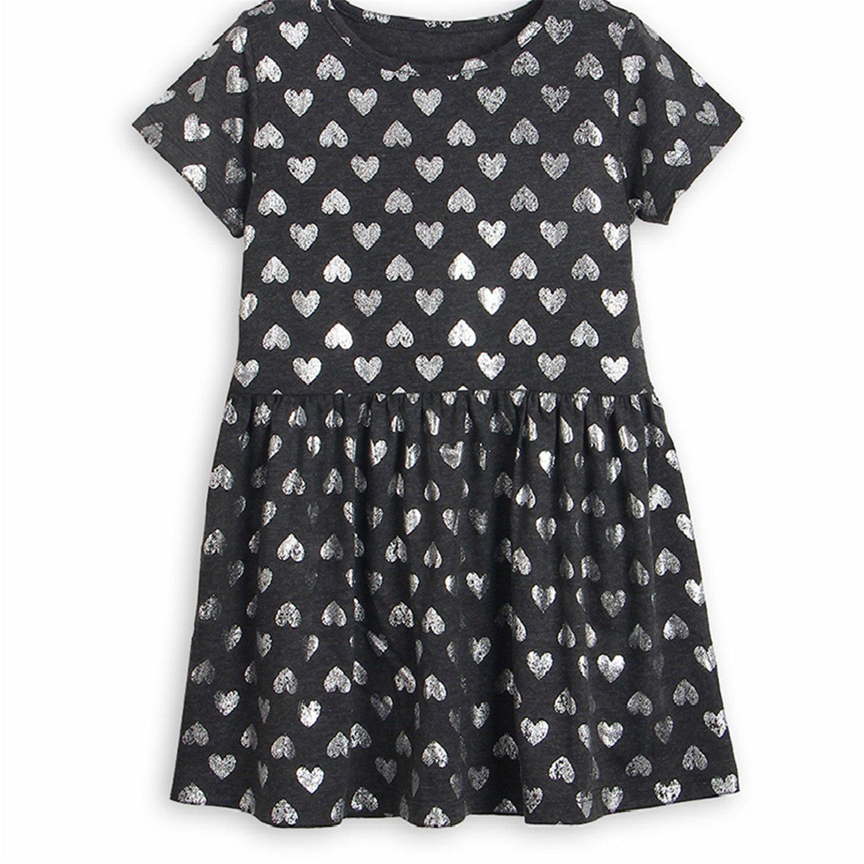 5a546c6287c2 Amazon.com  Girls Dresses New Summer Children Letter Striped O-Neck ...