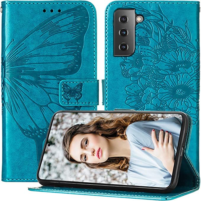 Magnetic PU Leather Protect Folio Cover Compatible with Galaxy S21+ 5G 6.7-Inch TPU Shockproof Interior Case Folio Kickstand TUCCH Wallet Case for Galaxy S21+ Plus, RFID Blocking Black Card Slot