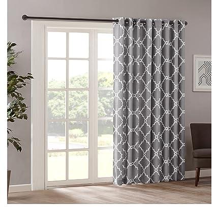 1 Piece 84 Inch Grey Color Geometric Sliding Door Curtain, Gray Sliding Patio  Door Panel - Amazon.com: 1 Piece 84 Inch Grey Color Geometric Sliding Door
