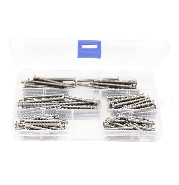 304 Stainless Steel M4 x 35mm// 40mm// 45mm// 50mm// 55mm binifiMux 100pcs Flat Phillips Head M4 Machine Screws Assortment Kit