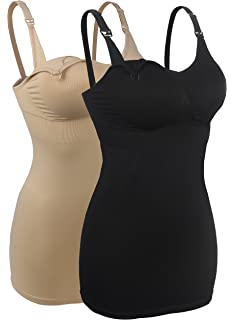 c4e21a4bfd iLoveSIA 2Pack Seamless Nursing Cami Tank Top with Build-in Maternity Bra
