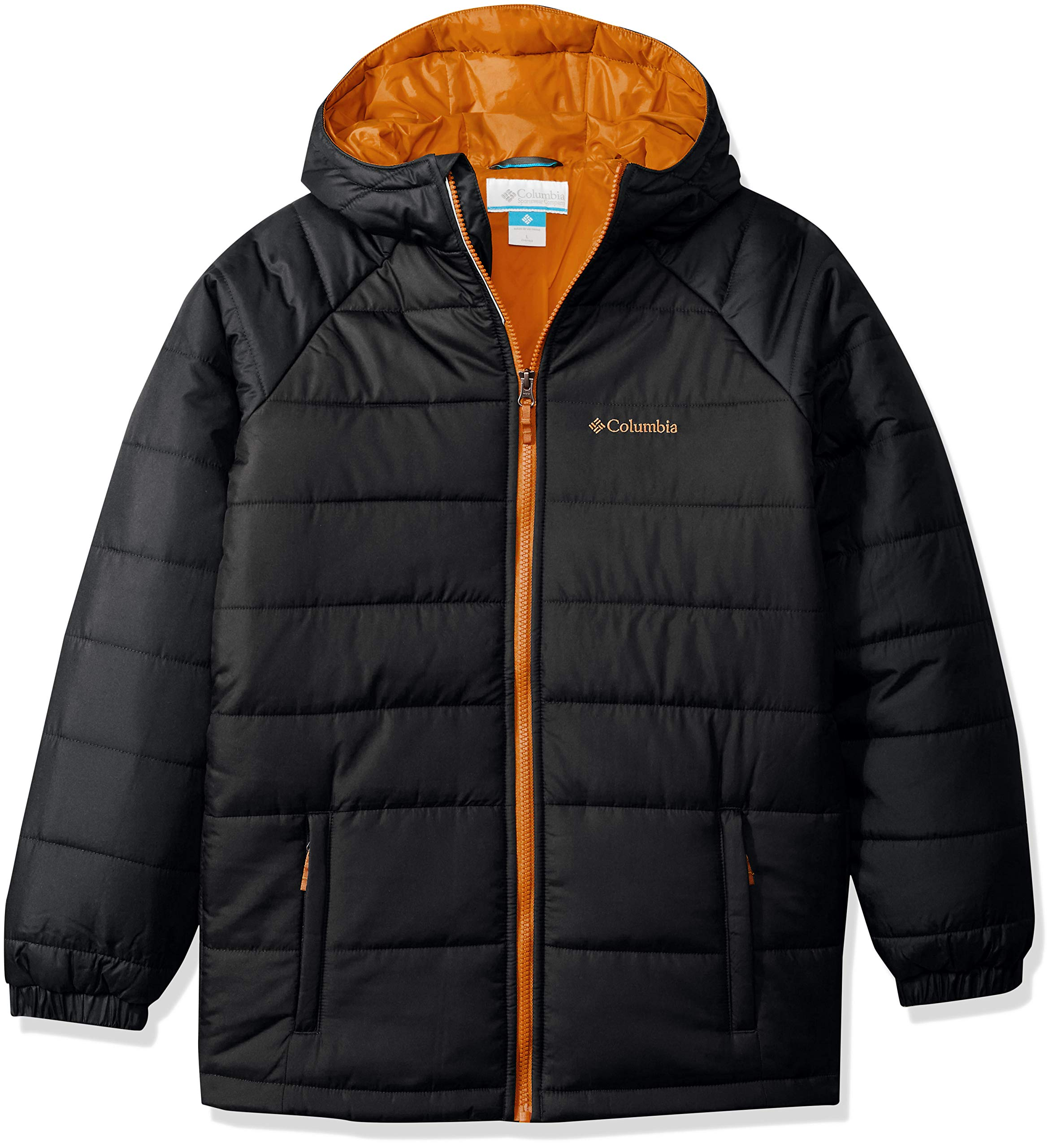 Columbia Boys' Big Tree Time Puffer Jacket, Black/Grill, Small
