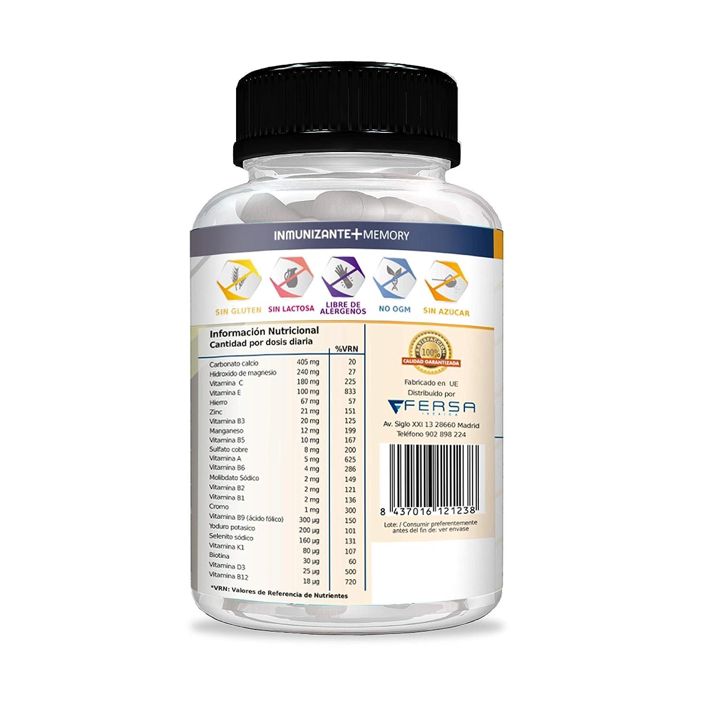 Potente y Completo Multivitamínico con Vitaminas C, E, B3, B5, A, B6, B2, B1, B9, B12, D3, Zinc y Hierro – Evita gripes y resfriados además de mejorar ...