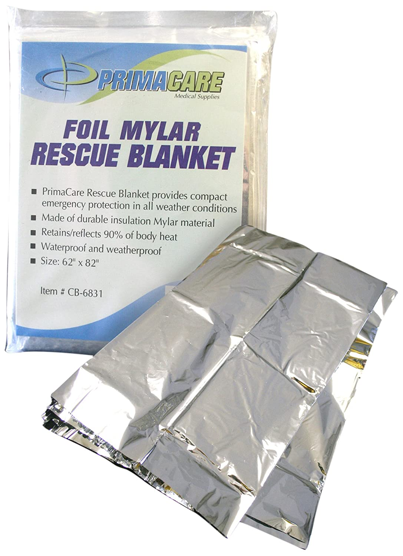 Primacare CB-6841-CS Emergency Foil Mylar Thermal Blanket, 84-Inch Length X 52-Inch Width (Pack of 10)