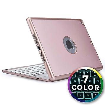 Funda con Teclado para iPad 6 / iPad 5 / iPad Air 1, Cooper NOTEKEE F86 Carcasa con Teclado inalámbrico Bluetooth con retroiluminación LED de 7 ...