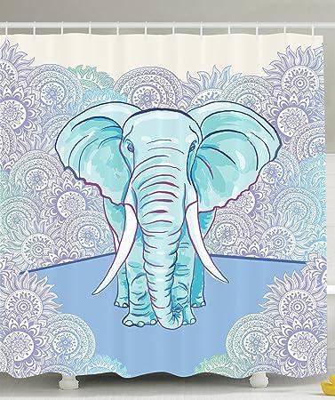 Elephant Shower Curtain Ethnic Decor By Ambesonne, Watercolor Effect  Pattern Batik Sun Circles Flowers Theme