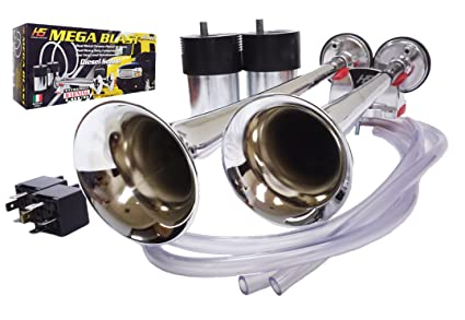 HS Heavy Duty Mega Blast Horns Extremely Loud (Metal_Chrome)