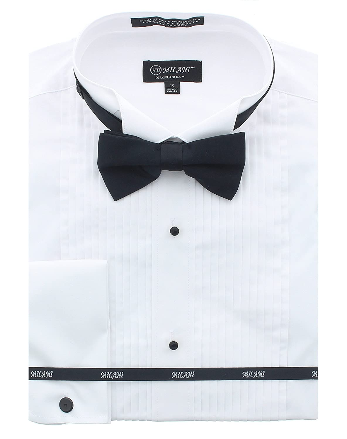 Milani Men's Tuxedo Shirts With French Cuffs And Bow Tie TSF01-WHT22-$P