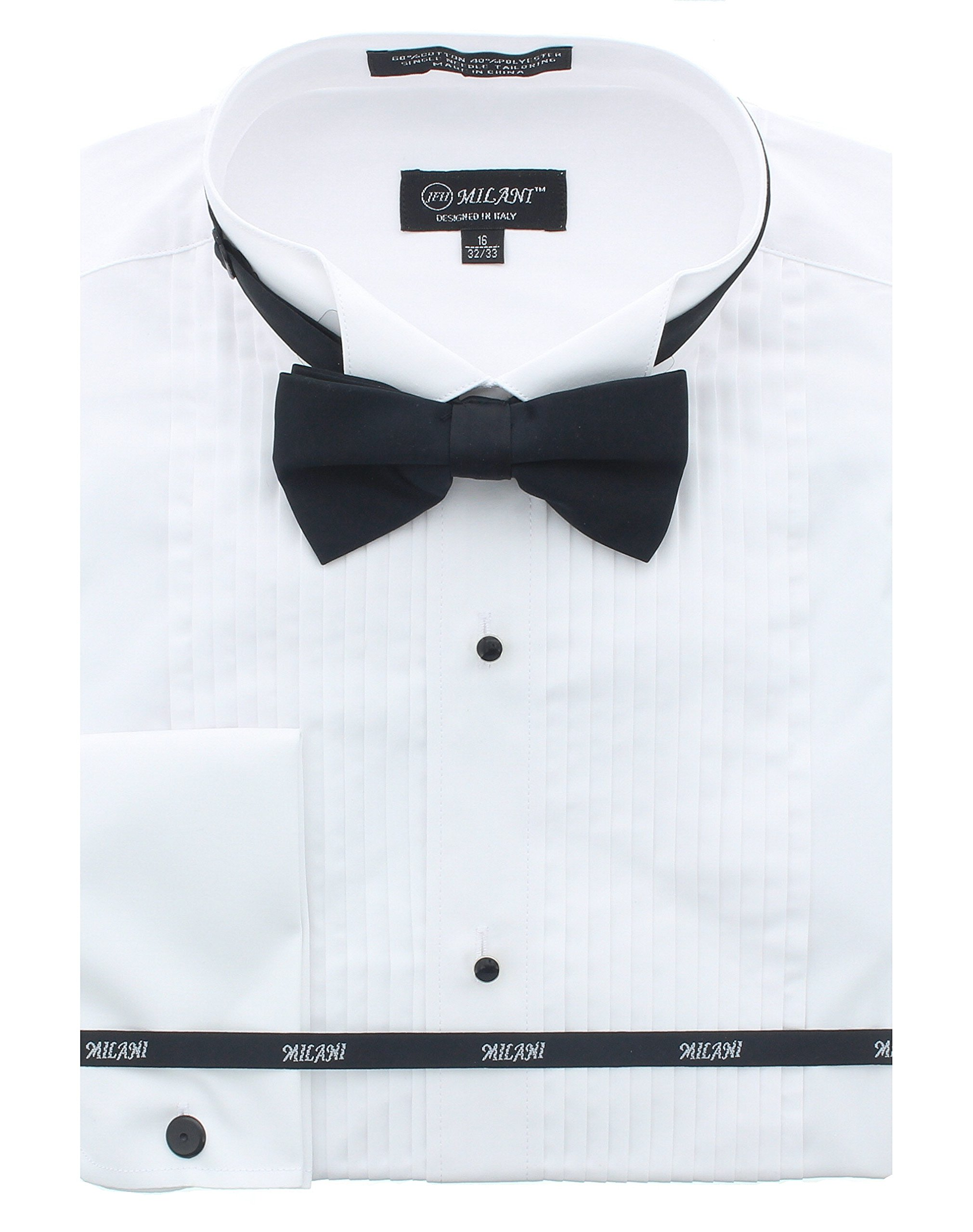 Milani Men's Tuxedo Shirt With French Cuffs And Bow Tie 17.5'', 34/35 White by Milani
