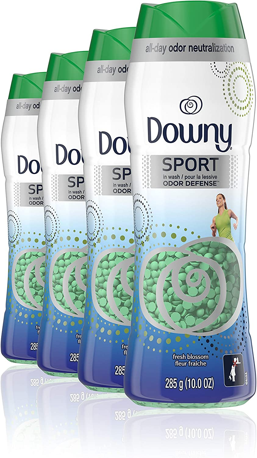 Downy Fresh Protect Sport in-wash Scent Booster Beads, Fresh Blossom, 10 Ounce, 4 Count, Pack of 4