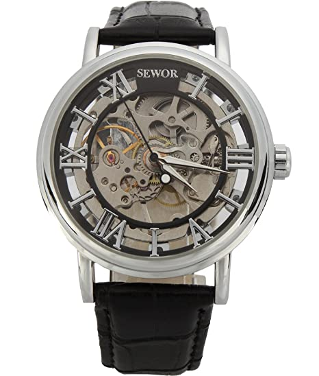 9af46f25d SEWOR Men s Mechanical Skeleton Transparent Vintage Style Leather Wrist  Watch (Black)