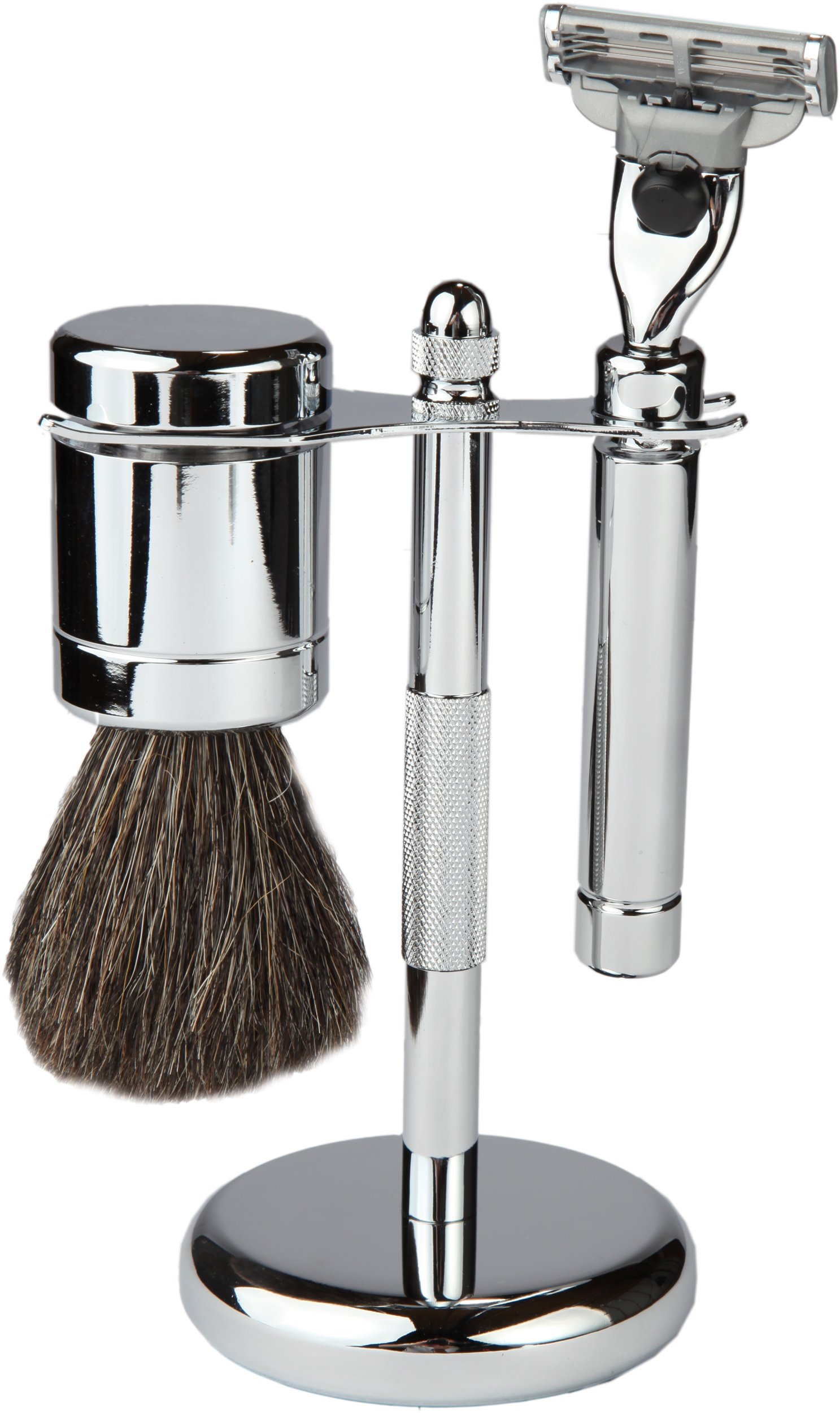 3 Piece Shaving Set With Mach 3 All Metal Heavyweight Handle and 100% All Metal Heavyweight Badger Brush, With All metal Chrome Textured Stand