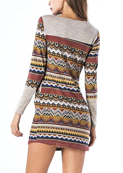 b6c018bd93b BLUETIME Women Striped Bodycon Dress Long Sleeve Pullover Knit Mini Sweater  Dress at Amazon Women s Clothing store