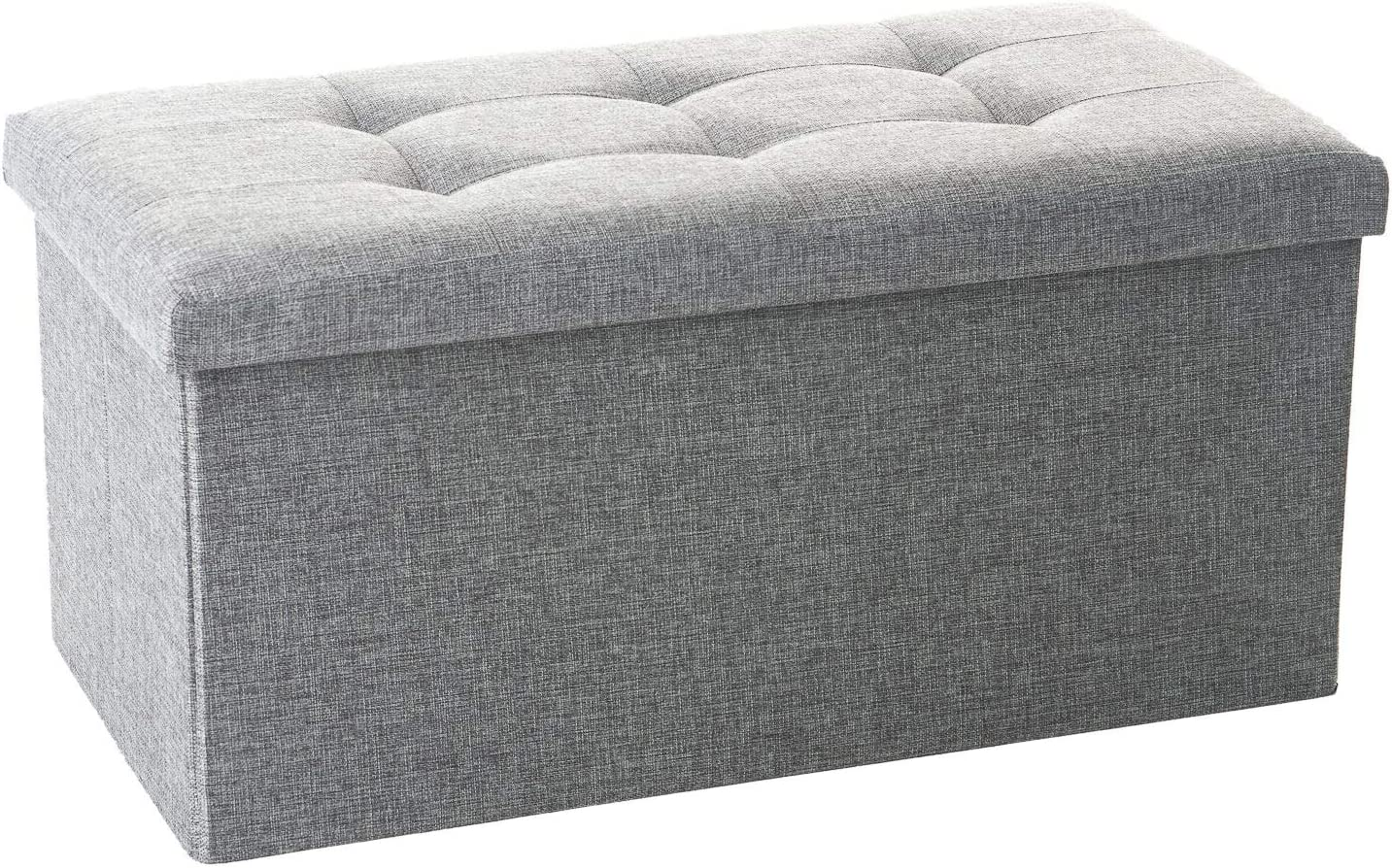 home treats folding ottoman storage box fabric ottoman chest and footstool ideal for toy box bed end shoe bench hallway seating grey medium