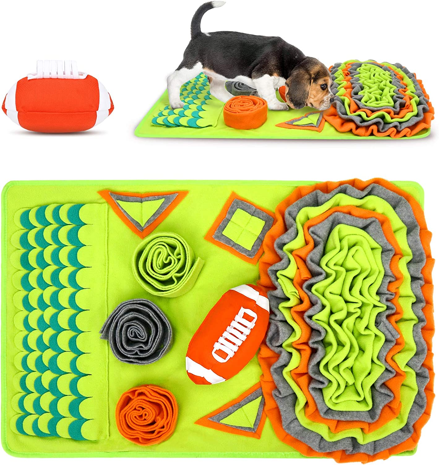 Auland Snuffle Mat for Dogs Training Mat with American Football for Sniffing Dog Games Dog Puzzle for Puppies Training Feeding Foraging Skill and Stress Release