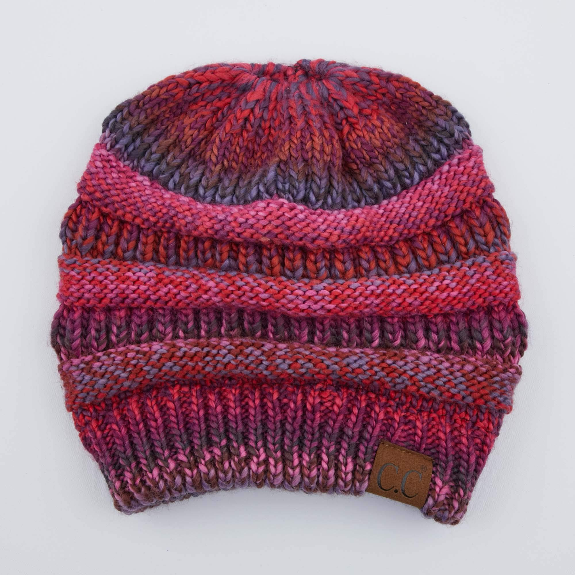 71a7e8775 C.C Exclusives Soft Stretch Cable Knit Messy Bun Ponytail Beanie Winter Hat  for Women (MB-20A)