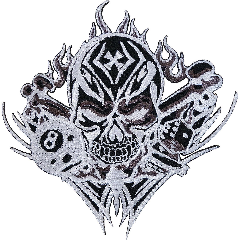 Dise/ño de calavera Bones dados 8/Ball hierro bordado//coser en parche biker chaqueta Insignia