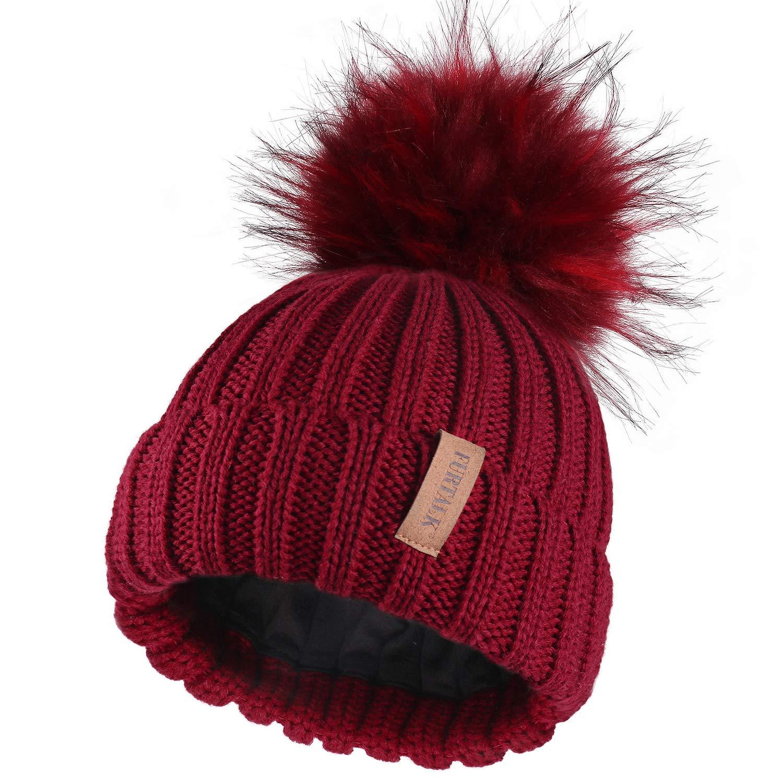 FURTALK Kids Winter Faux Fur Pom Pom Hat Toddler Boys Girls Kids Knitted Beanie Hat Ages 1-8