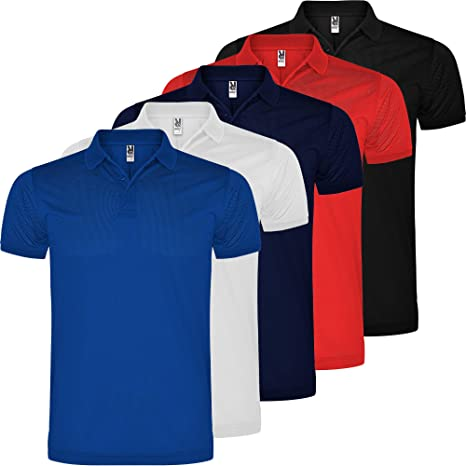 ROLY Polo técnico Hombre | Pack 5 | Deporte/Casual | 100% Poliéster microperforado | Manga Corta | Transpirable: Amazon.es: Deportes y aire libre